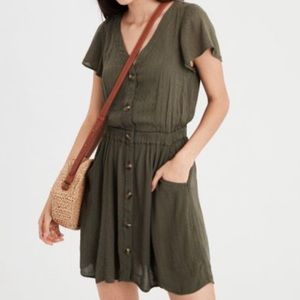 American Eagle Button Front Dress in Olive Green